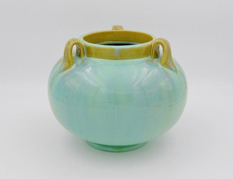 20th Century Vintage Fulper Pottery Three Handled Vase with a Flambé Glaze For Sale