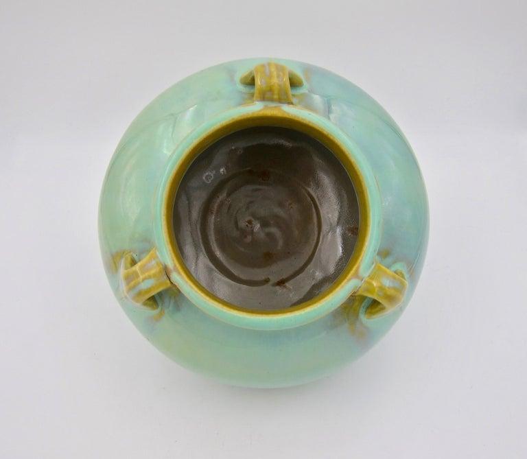 Vintage Fulper Pottery Three Handled Vase with a Flambé Glaze For Sale 1