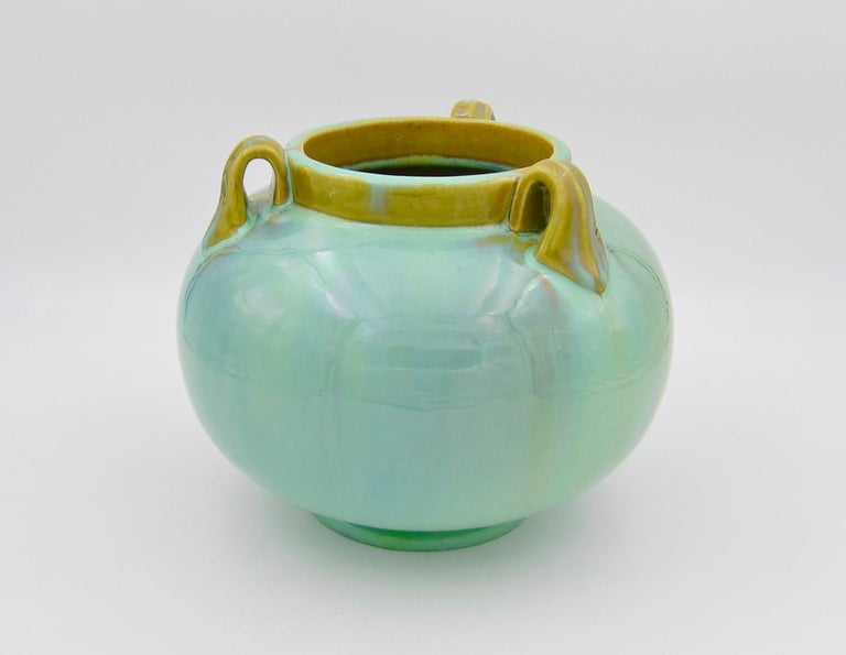Vintage Fulper Pottery Three Handled Vase with a Flambé Glaze For Sale 2