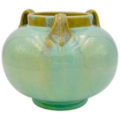 Vintage Fulper Pottery Three Handled Vase with a Flambé Glaze