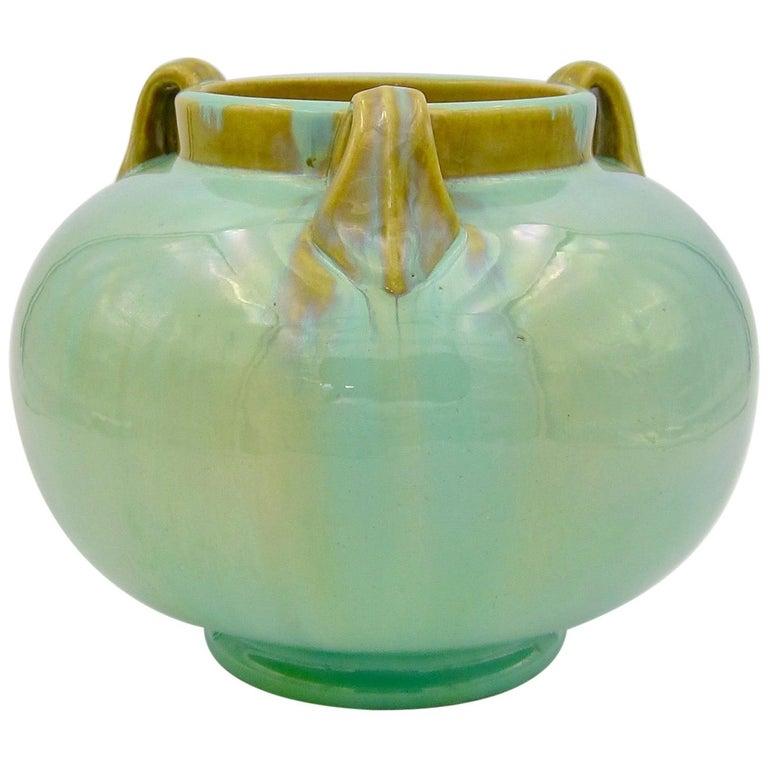 Vintage Fulper Pottery Three Handled Vase with a Flambé Glaze For Sale