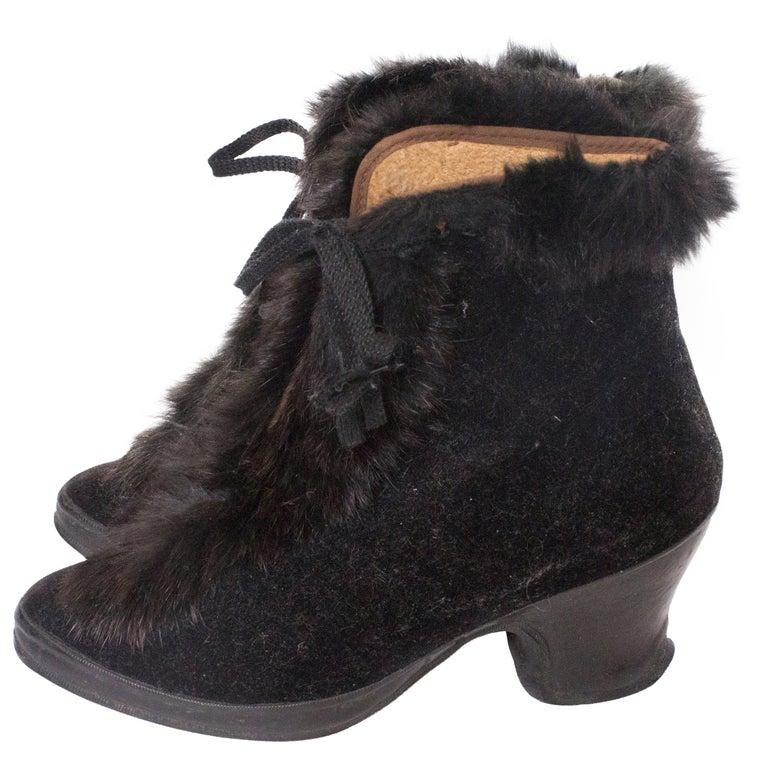 Vintage Fur Trimmed Galoshes Over Shoes.  For Sale
