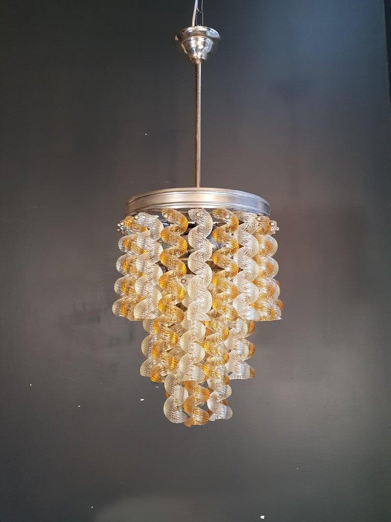 Vintage Fusilli Anhänger Murano Kronleuchter der 1970er Jahre Space Age Gelbe Lampe, 1970er Jahre 3