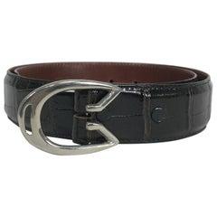 Vintage G Gucci Modernist Silver Horseshoe Buckle & Alligator Belt