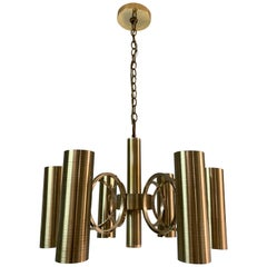 Vintage Gaetano Sciolari Perforated Brass Chandelier