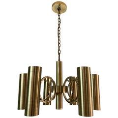 Vintage Gaetano Sciolari Perforated Brass Chandelier