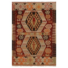 Vintage Gal Burgundy and Blue Wool Kilim Rug with Vibrant Accents