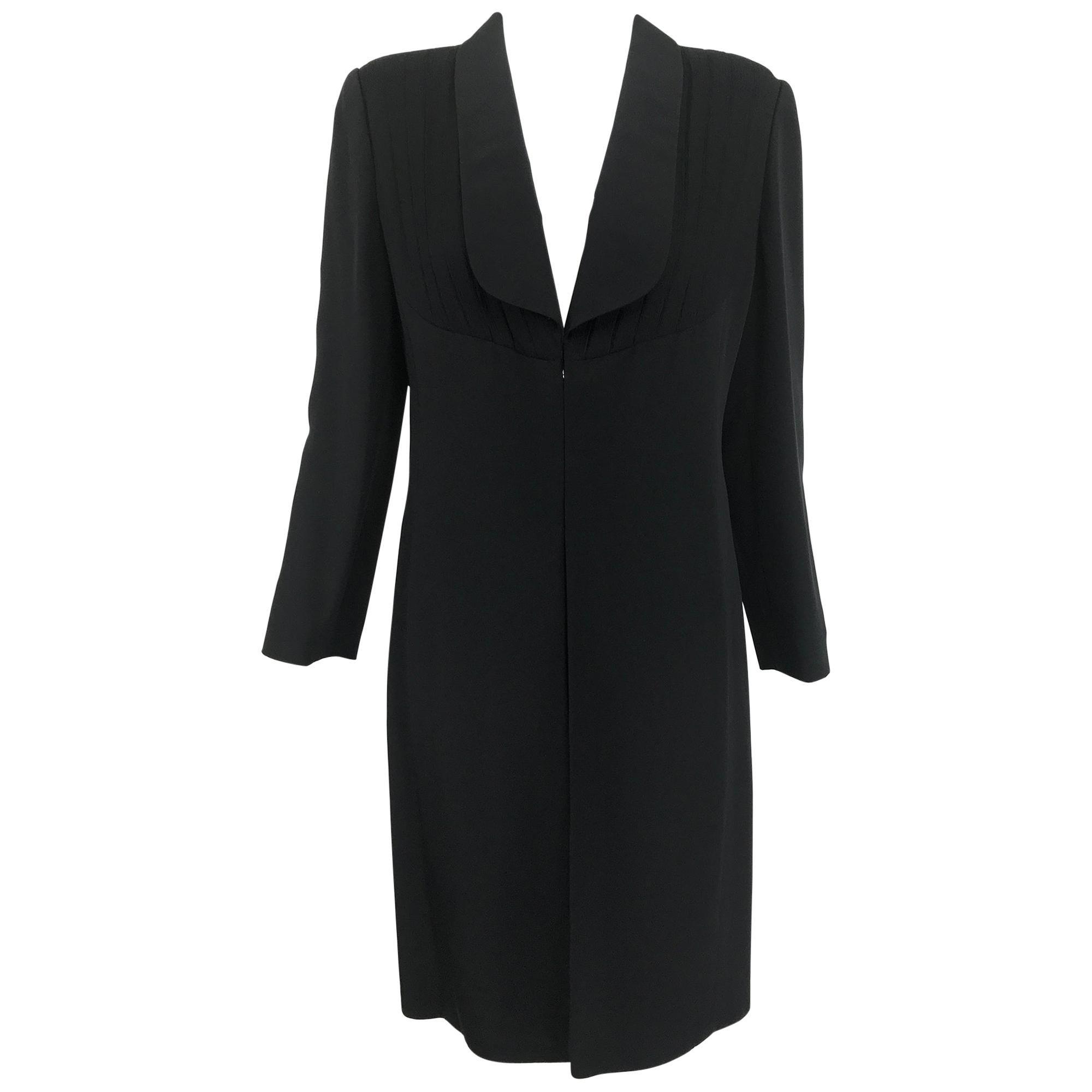 Vintage Galanos Black SIlk Coat Pleated chiffon Yoke Fronts