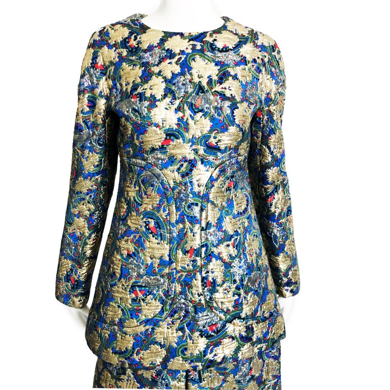 Vintage Galanos Brocade 3pc Suit Top, Long Vest & Skirt M For Sale 5
