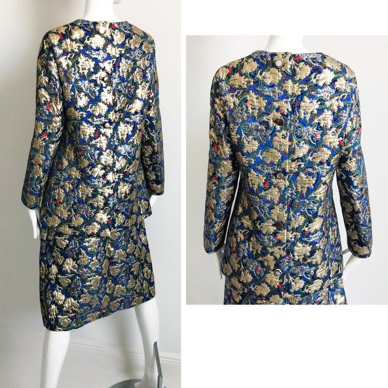 Vintage Galanos Brocade 3pc Suit Top, Long Vest & Skirt M For Sale 6