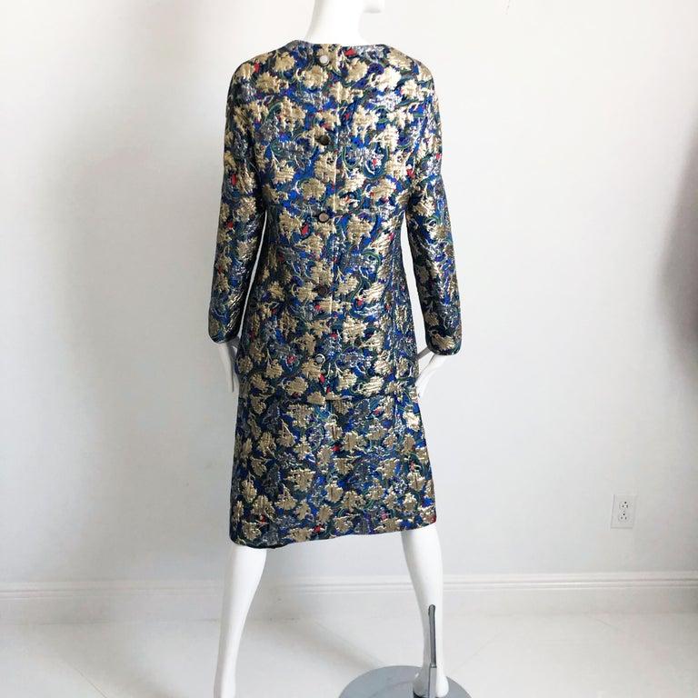 Vintage Galanos Brocade 3pc Suit Top, Long Vest & Skirt M For Sale 7