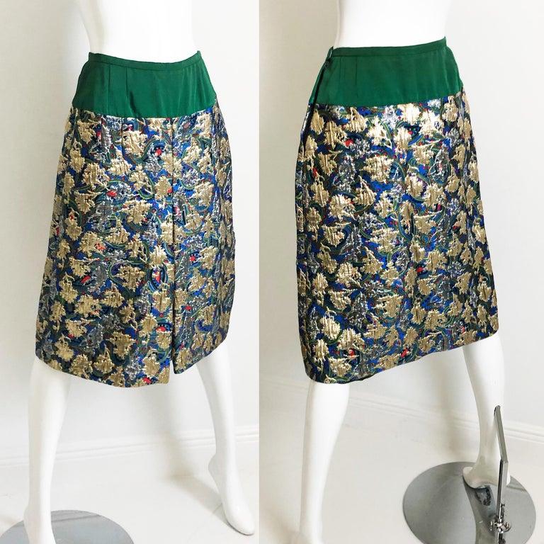 Vintage Galanos Brocade 3pc Suit Top, Long Vest & Skirt M For Sale 8