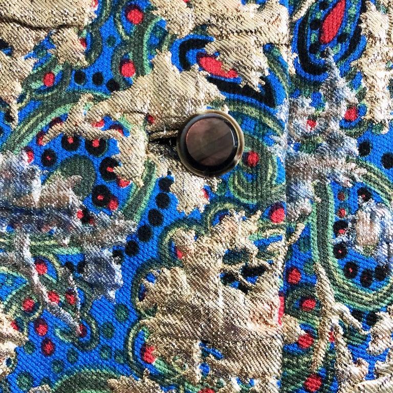 Vintage Galanos Brocade 3pc Suit Top, Long Vest & Skirt M For Sale 9