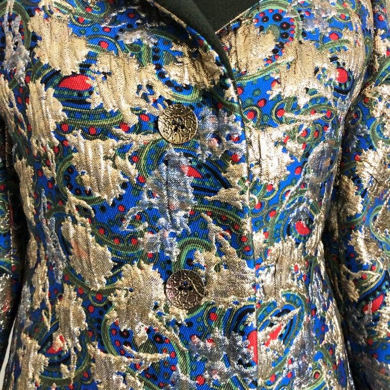 Vintage Galanos Brocade 3pc Suit Top, Long Vest & Skirt M For Sale 10