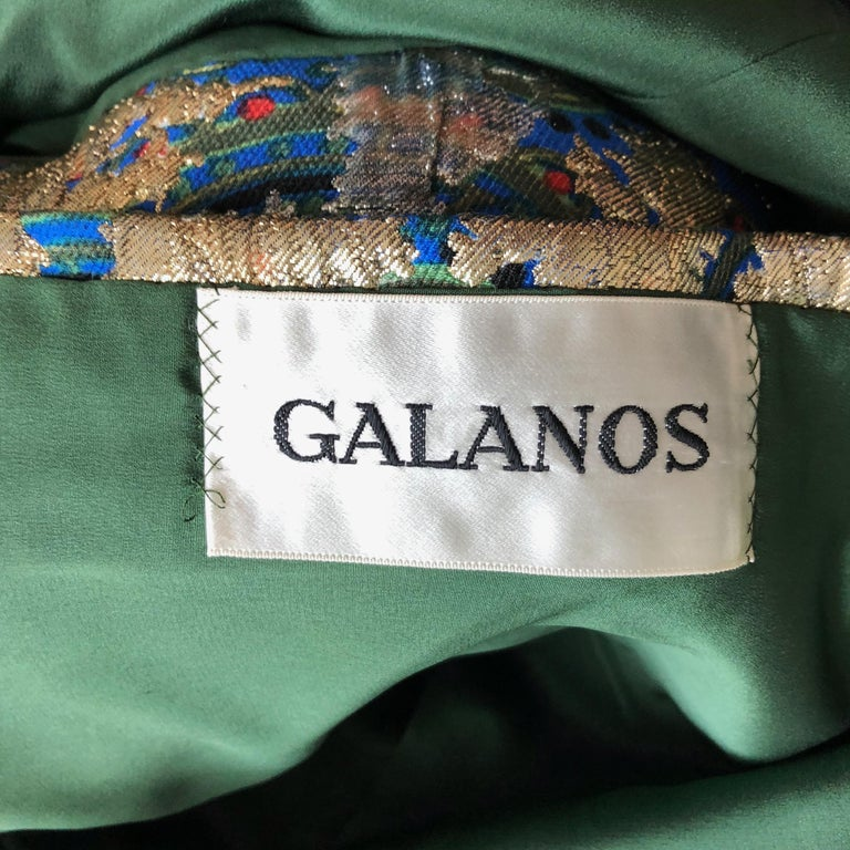 Vintage Galanos Brocade 3pc Suit Top, Long Vest & Skirt M For Sale 11