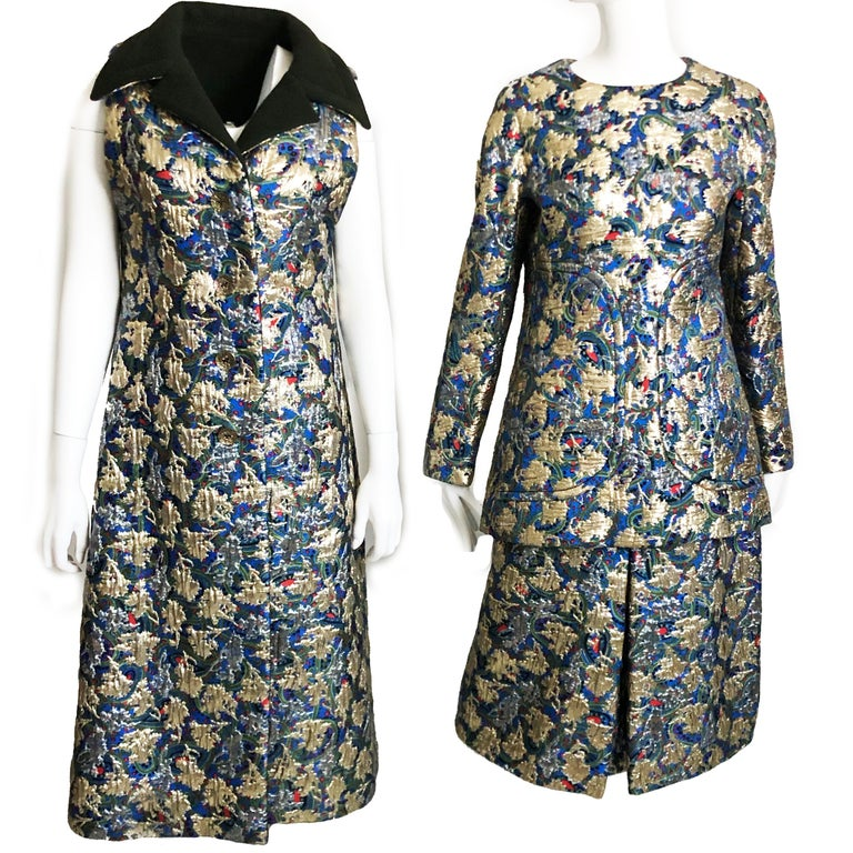 Vintage 60s 3pc Long Vest, Top & Skirt by James Galanos. Metallic brocade is gorgeous! No size tag. fits like modern M: Vest: bust - 36in, waist - 37in, hips - 42in, shoulder to hem length - 49in. Jacket: shoulders - 15in, bust - 37in, waist - 33in,
