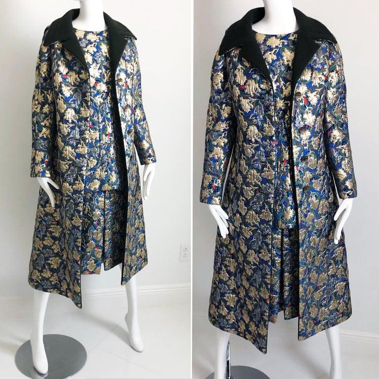 Black Vintage Galanos Brocade 3pc Suit Top, Long Vest & Skirt M For Sale