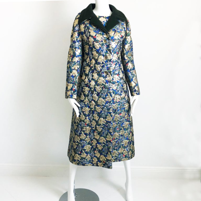 Vintage Galanos Brocade 3pc Suit Top, Long Vest & Skirt M In Good Condition For Sale In Port Saint Lucie, FL