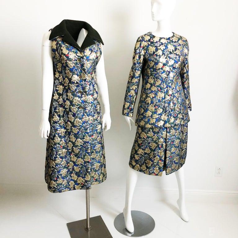 Women's Vintage Galanos Brocade 3pc Suit Top, Long Vest & Skirt M For Sale