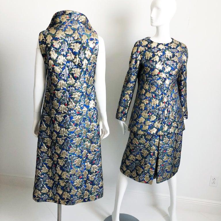 Vintage Galanos Brocade 3pc Suit Top, Long Vest & Skirt M For Sale 1