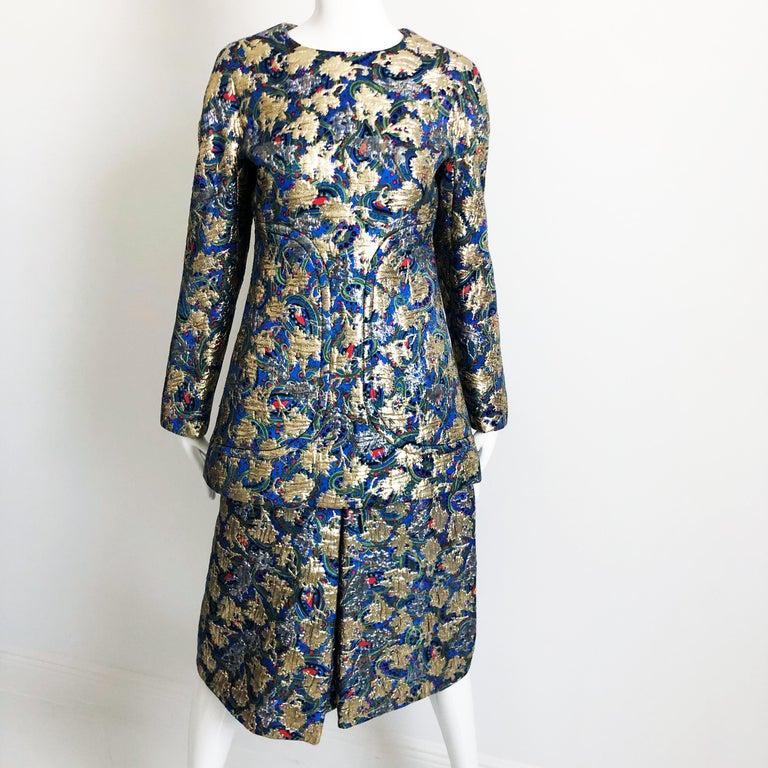 Vintage Galanos Brocade 3pc Suit Top, Long Vest & Skirt M For Sale 2