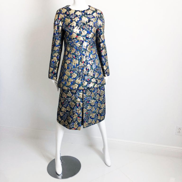 Vintage Galanos Brocade 3pc Suit Top, Long Vest & Skirt M For Sale 3