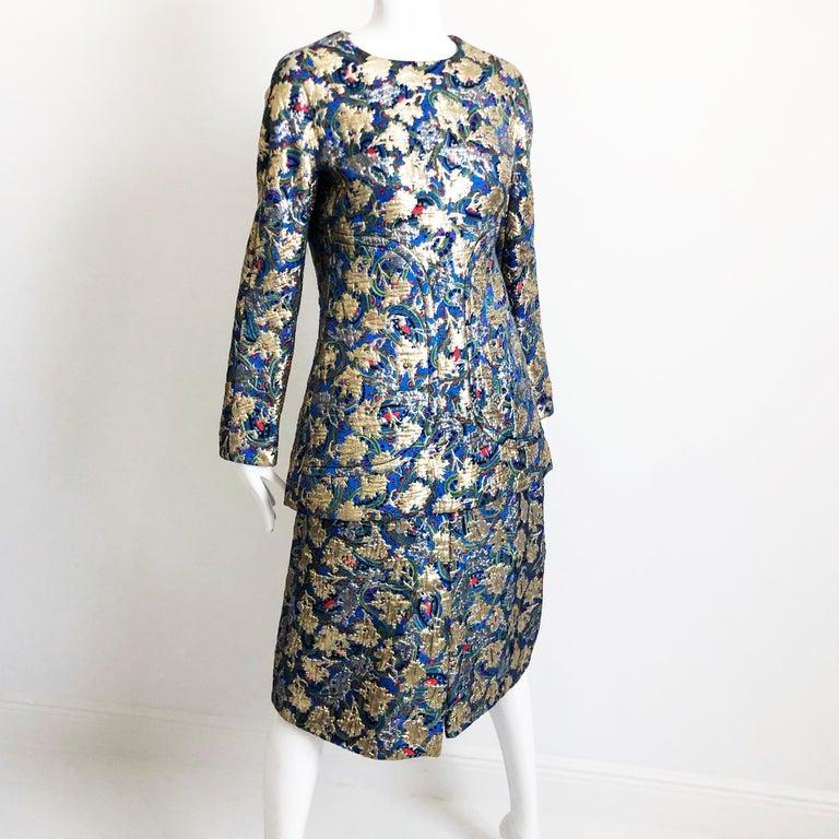 Vintage Galanos Brocade 3pc Suit Top, Long Vest & Skirt M For Sale 4