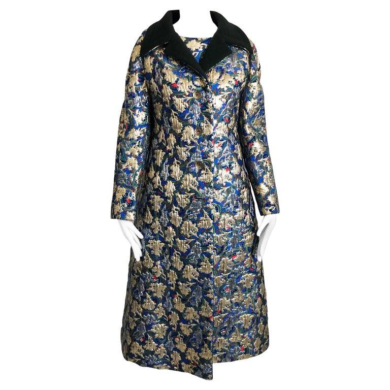 Vintage Galanos Brocade 3pc Suit Top, Long Vest & Skirt M For Sale