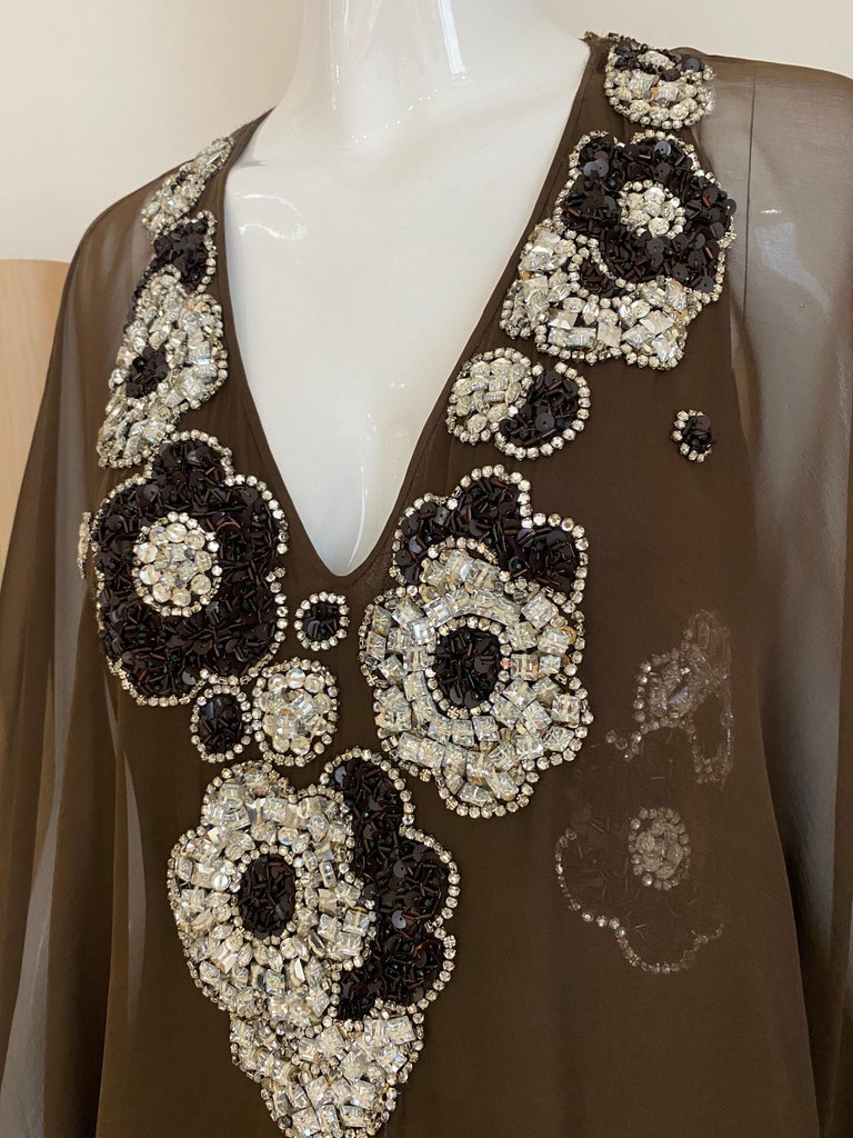 Vintage Galanos Brown Silk Chiffon Gown For Sale 5