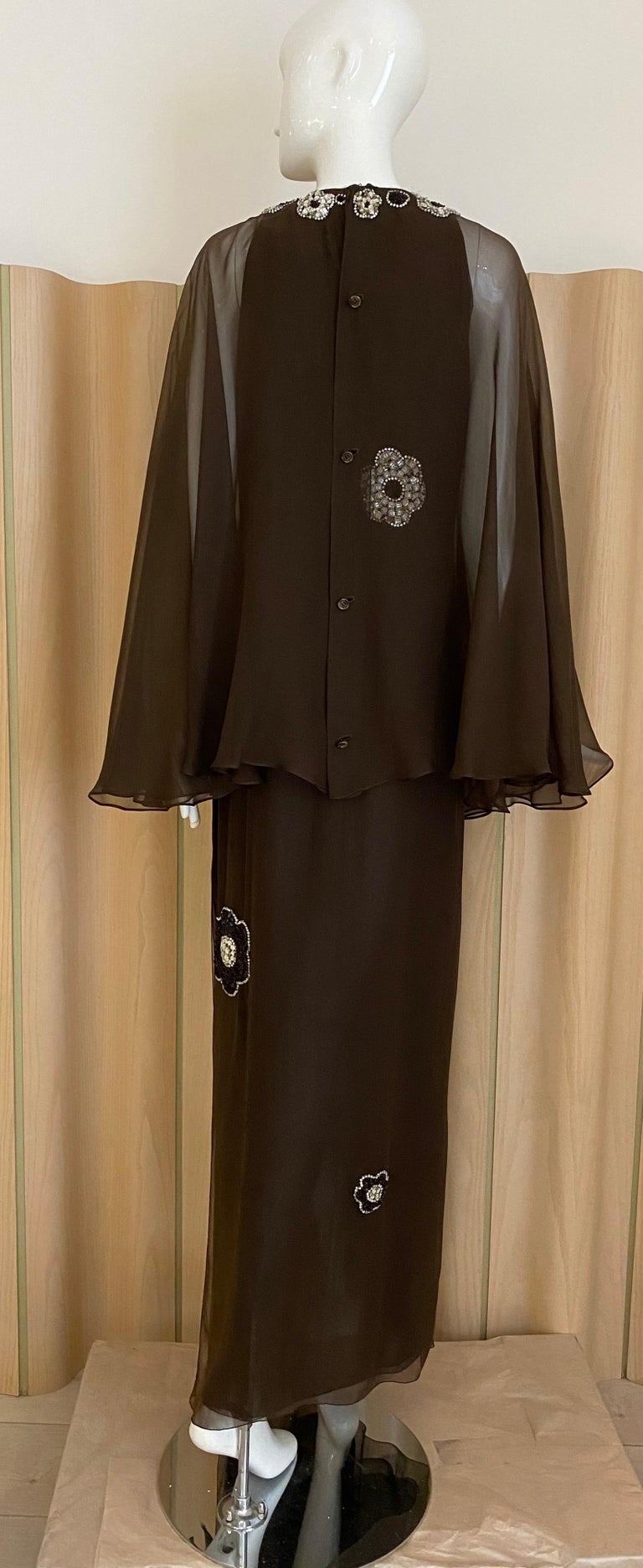 Vintage Galanos Brown Silk Chiffon Gown In Good Condition For Sale In Beverly Hills, CA