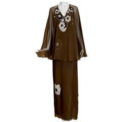 Vintage Galanos Brown Silk Chiffon Gown