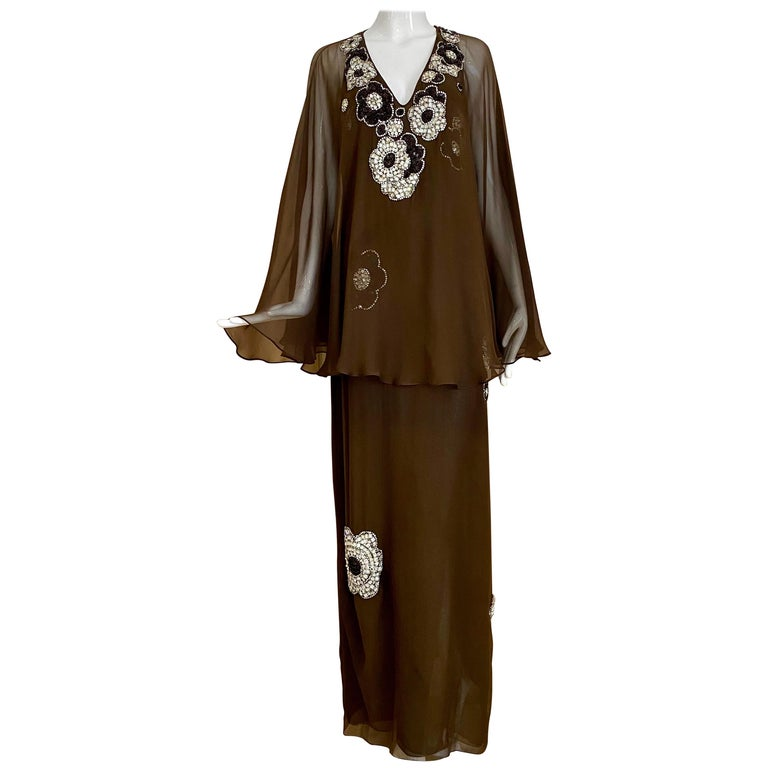 Vintage Galanos Brown Silk Chiffon Gown For Sale