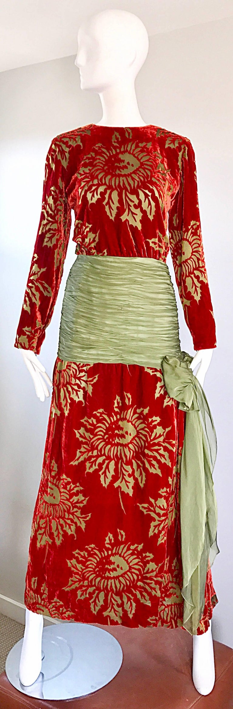 Vintage Galanos Deep Red + Chartreuse Green Burnt Out Silk Velvet 20s Style Gown For Sale 5