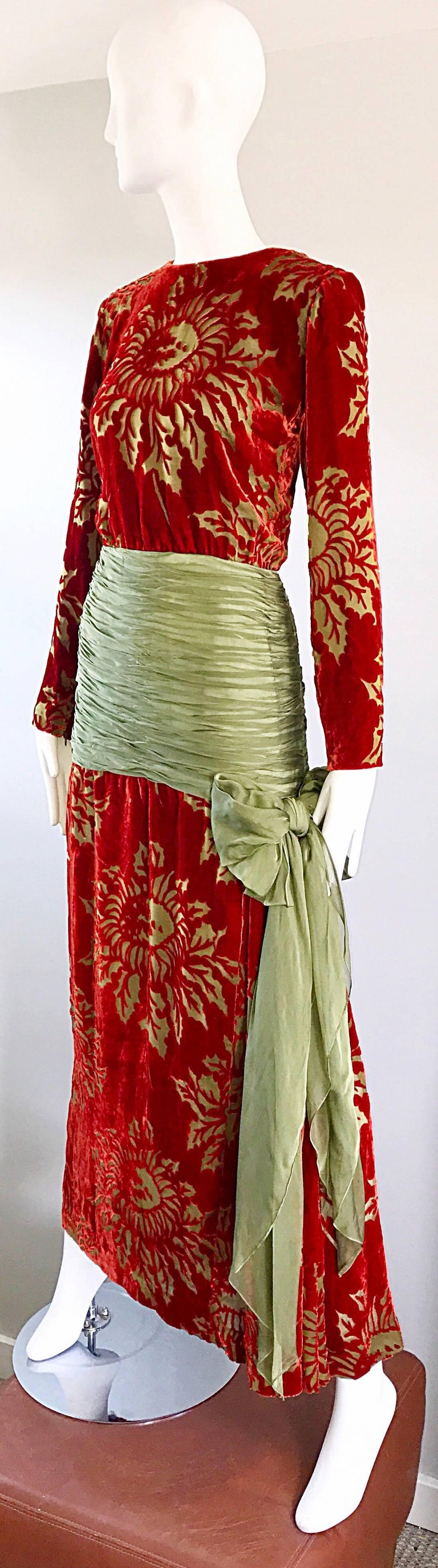 Brown Vintage Galanos Deep Red + Chartreuse Green Burnt Out Silk Velvet 20s Style Gown For Sale