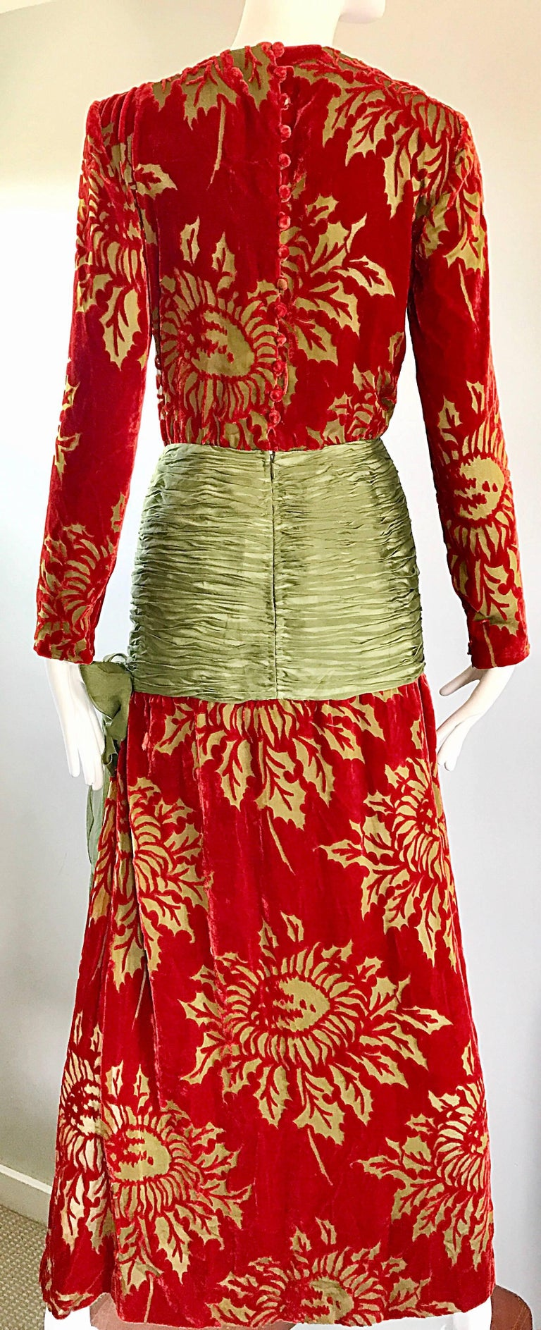 Vintage Galanos Deep Red + Chartreuse Green Burnt Out Silk Velvet 20s Style Gown In Good Condition For Sale In Chicago, IL