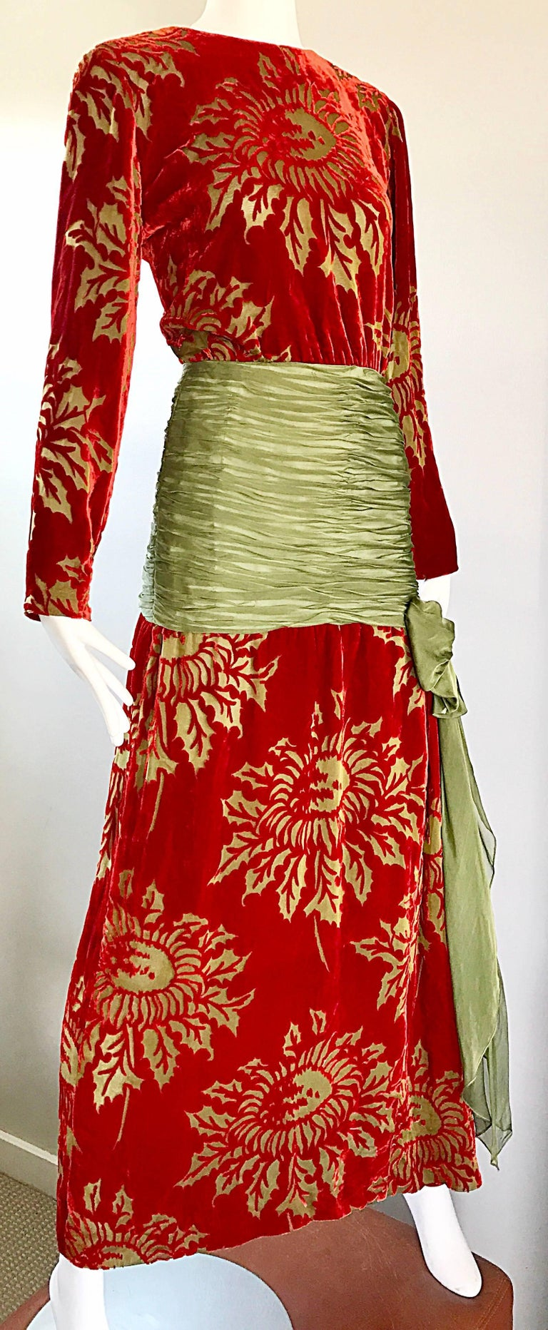 Vintage Galanos Deep Red + Chartreuse Green Burnt Out Silk Velvet 20s Style Gown For Sale 1