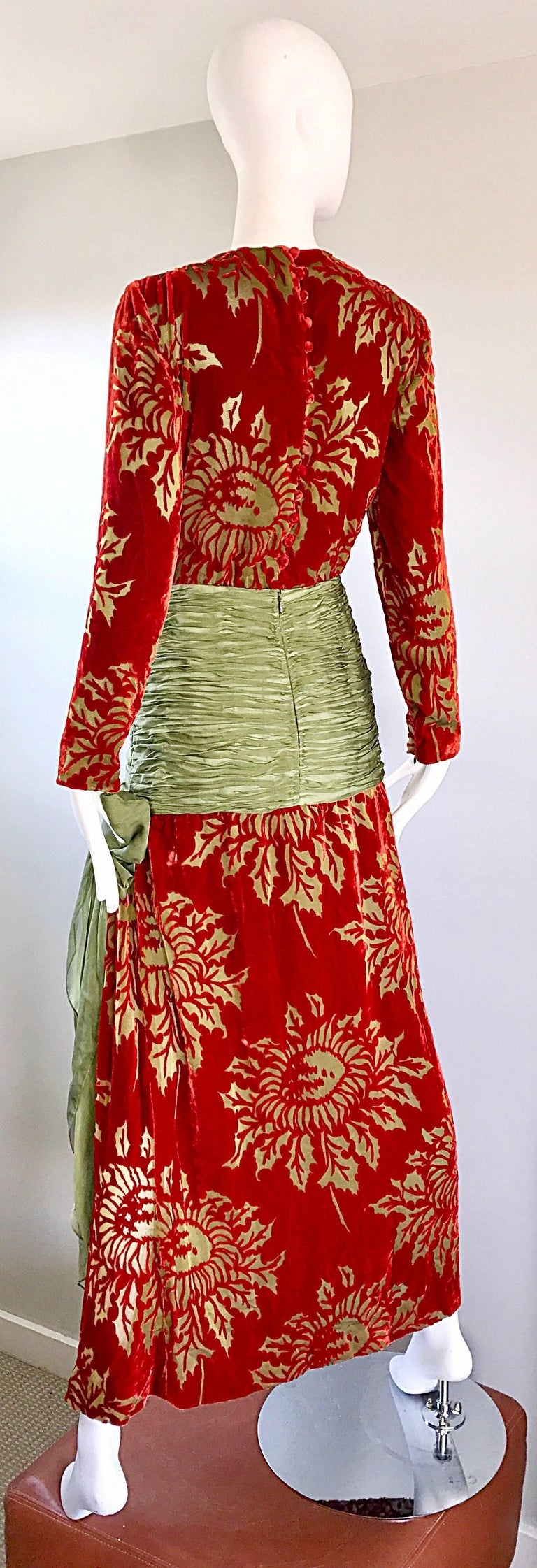 Vintage Galanos Deep Red + Chartreuse Green Burnt Out Silk Velvet 20s Style Gown For Sale 3