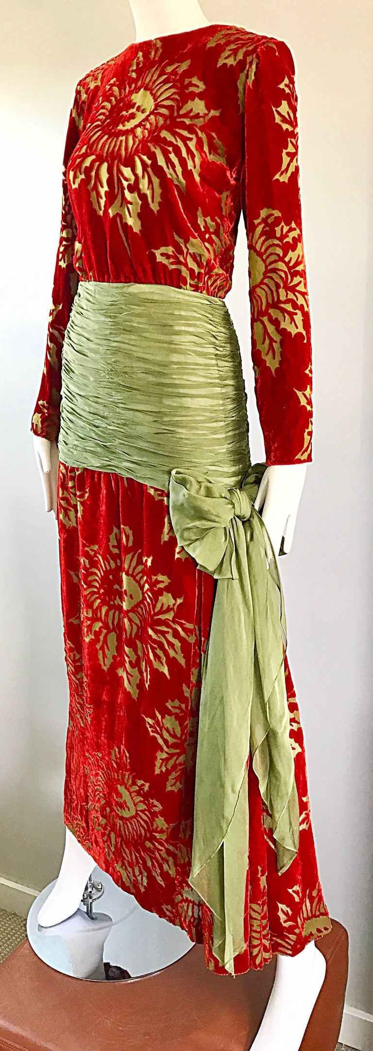 Vintage Galanos Deep Red + Chartreuse Green Burnt Out Silk Velvet 20s Style Gown For Sale 4