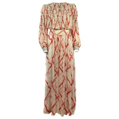 Vintage GALANOS Silk White and Red Swarovski Maxi Dress w/ Belt