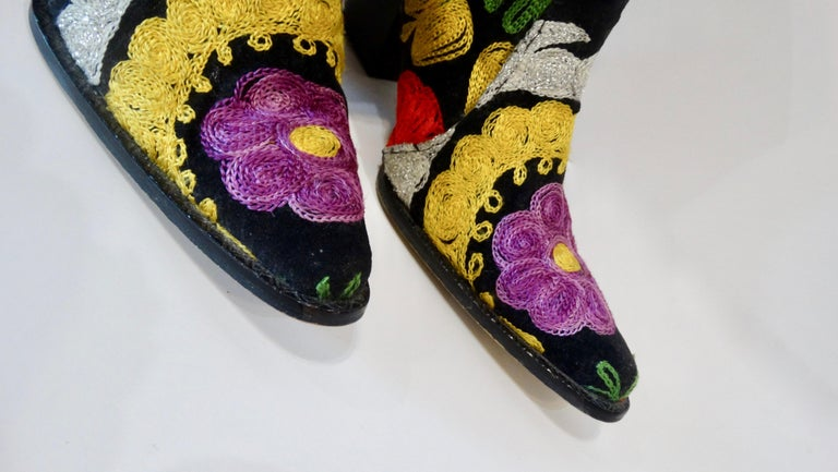 Black Galeri Cengiz Floral Embroidered Cowboy Booties  For Sale
