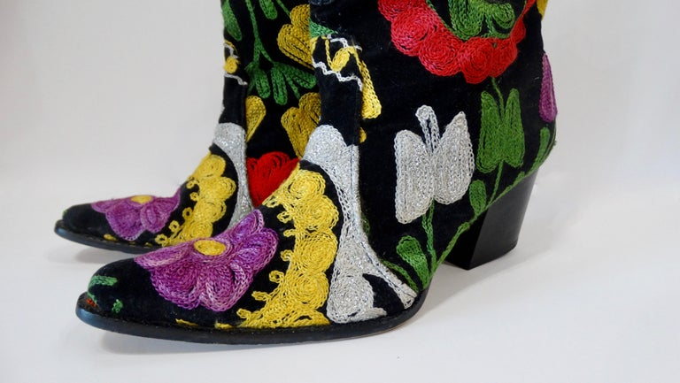 Galeri Cengiz Floral Embroidered Cowboy Booties  For Sale 1