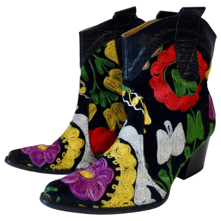 Galeri Cengiz Floral Embroidered Cowboy Booties  For Sale