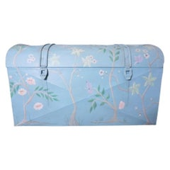 Vintage Galvanized Trunk with Hand-Painted Gracie-Inspired Pattern