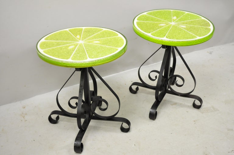 Vintage Gamma Associates Midcentury Green Lime Slice Resin Side Table, a Pair For Sale 5
