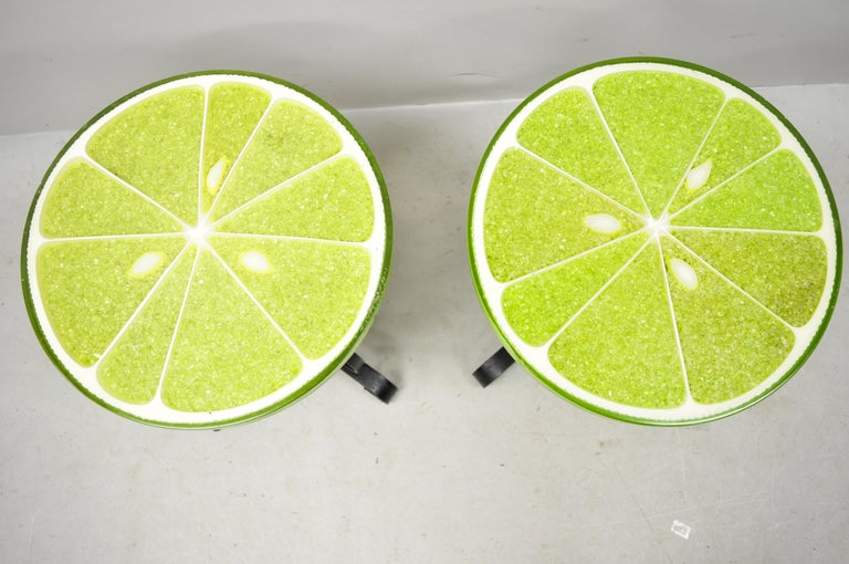 Vintage Gamma Associates midcentury green lime slice resin side table - a pair. Item features the original label, round resin top, wrought iron base, very rare model, circa 1967. Measurements: 18.5