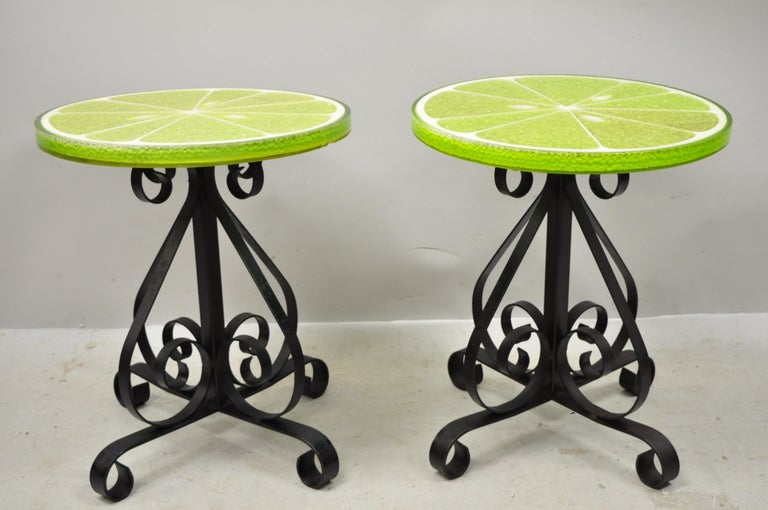 Mid-Century Modern Vintage Gamma Associates Midcentury Green Lime Slice Resin Side Table, a Pair For Sale