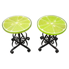 Vintage Gamma Associates Midcentury Green Lime Slice Resin Side Table, a Pair