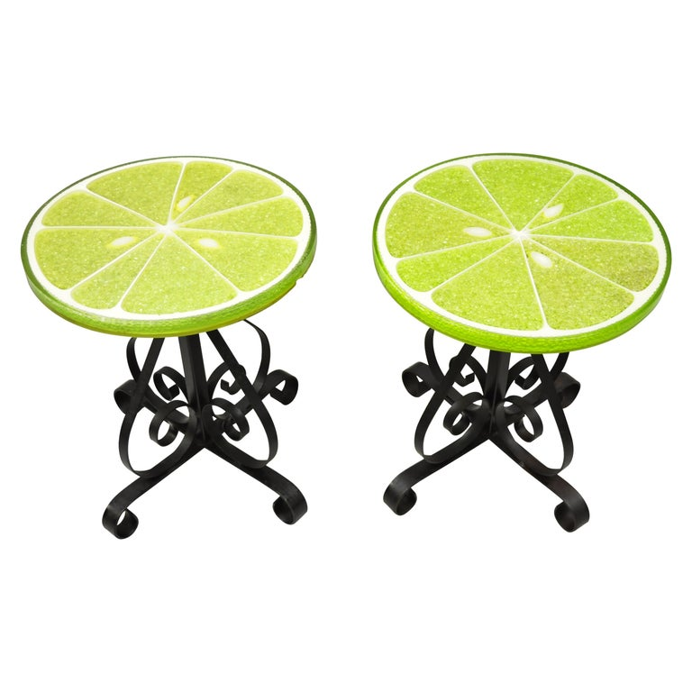 Vintage Gamma Associates Midcentury Green Lime Slice Resin Side Table, a Pair For Sale