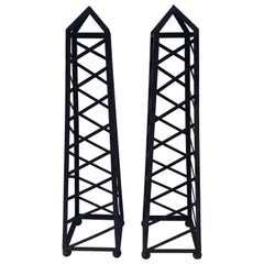 Pair of 6 Ft High Vintage Iron Garden Obelisks