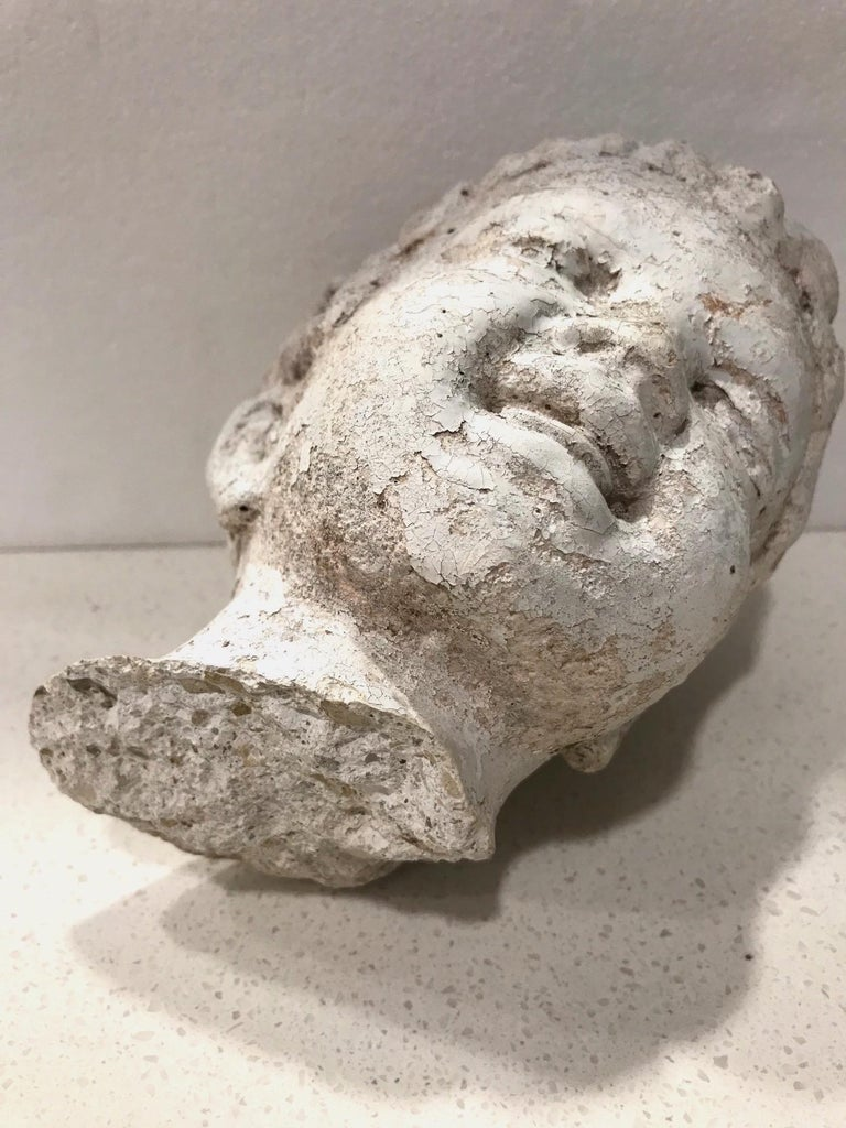 Vintage Garden Statue Fragment of Boy in Cast Stone, France, circa 1990 For Sale 3